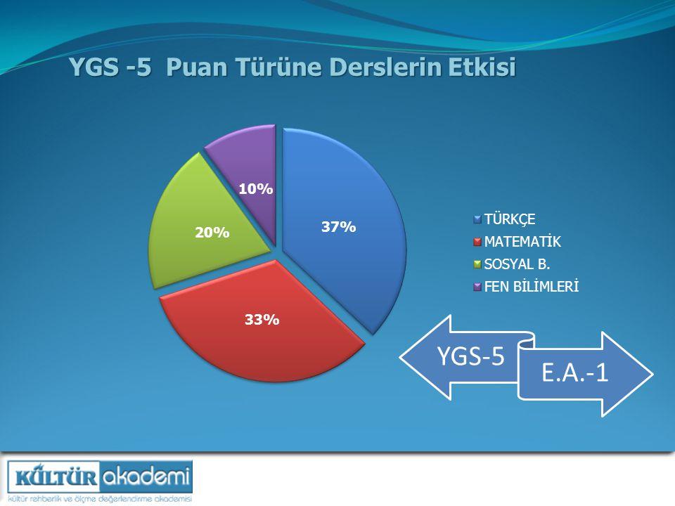 YGS -5 Puan Türüne Derslerin Etkisi YGS-5 E.A.-1