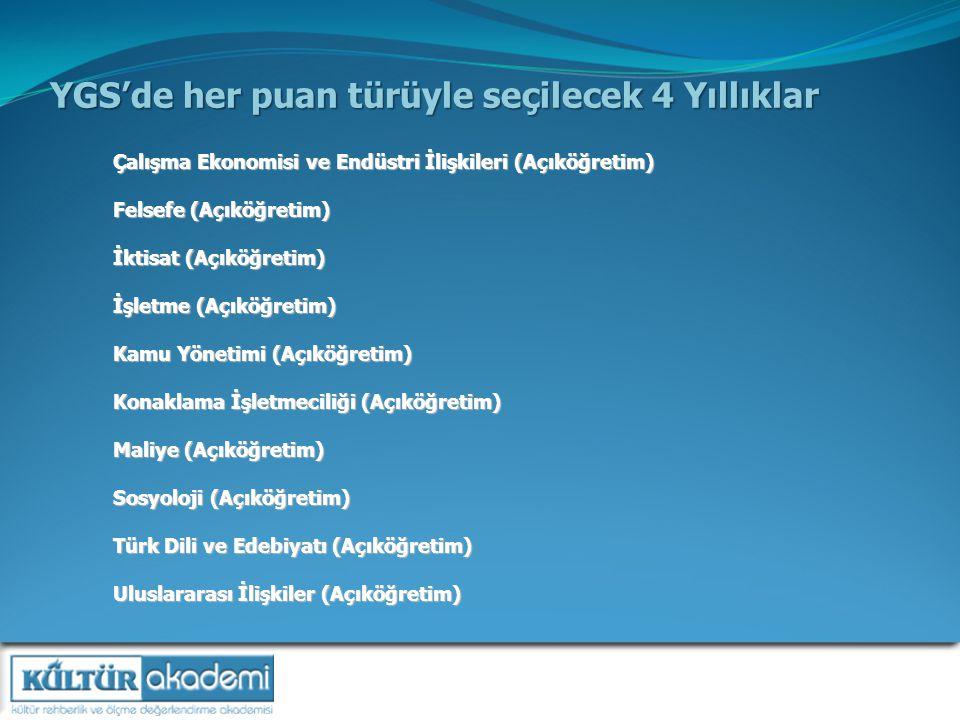 YGS'de her puan türüyle seçilecek 4 Yıllıklar Çalışma Ekonomisi ve Endüstri İlişkileri (Açıköğretim) Felsefe (Açıköğretim) İktisat (Açıköğretim) İşletme (Açıköğretim) Kamu Yönetimi (Açıköğretim) Konaklama İşletmeciliği (Açıköğretim) Maliye (Açıköğretim) Sosyoloji (Açıköğretim) Türk Dili ve Edebiyatı (Açıköğretim) Uluslararası İlişkiler (Açıköğretim)