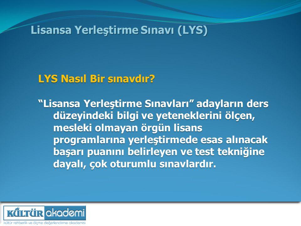 Lisansa Yerleştirme Sınavı (LYS) LYS Nasıl Bir sınavdır.