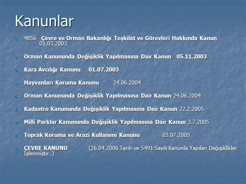 Kanunlar 1. 4856 Çevre ve Orman Bakanlığı Teşkilat ve Görevleri Hakkında Kanun 01.03.2003 2. Orman Kanununda Değişiklik Yapılmasına Dair Kanun 05.11.2