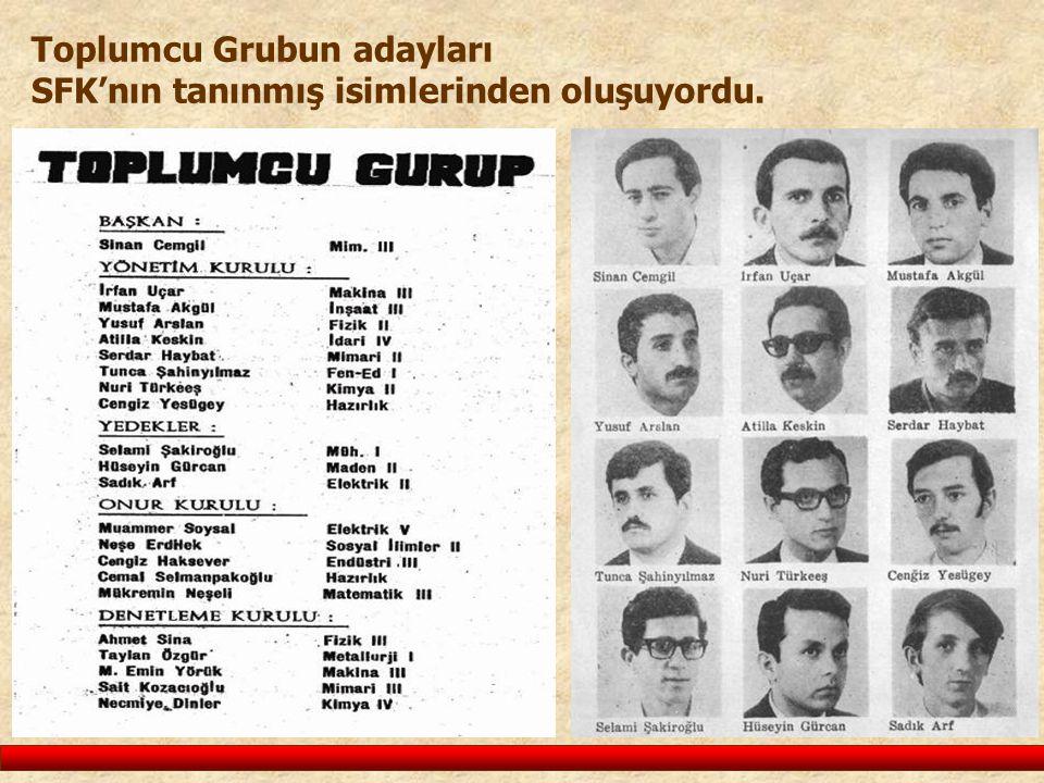 Toplumcu Grubun adayları SFK'nın tanınmış isimlerinden oluşuyordu.