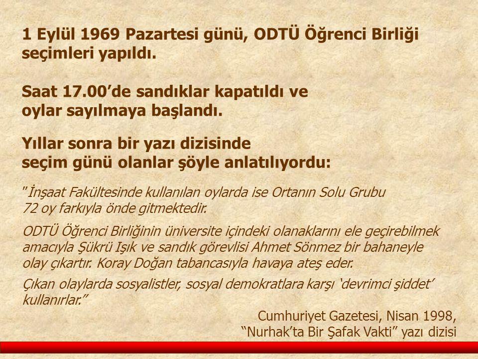 1 Eylül 1969 Pazartesi günü, ODTÜ Öğrenci Birliği seçimleri yapıldı. Saat 17.00'de sandıklar kapatıldı ve oylar sayılmaya başlandı. Yıllar sonra bir y