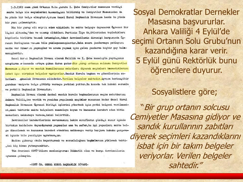 Sosyal Demokratlar Dernekler Masasına başvururlar. Ankara Valiliği 4 Eylül'de seçimi Ortanın Solu Grubu'nun kazandığına karar verir. 5 Eylül günü Rekt