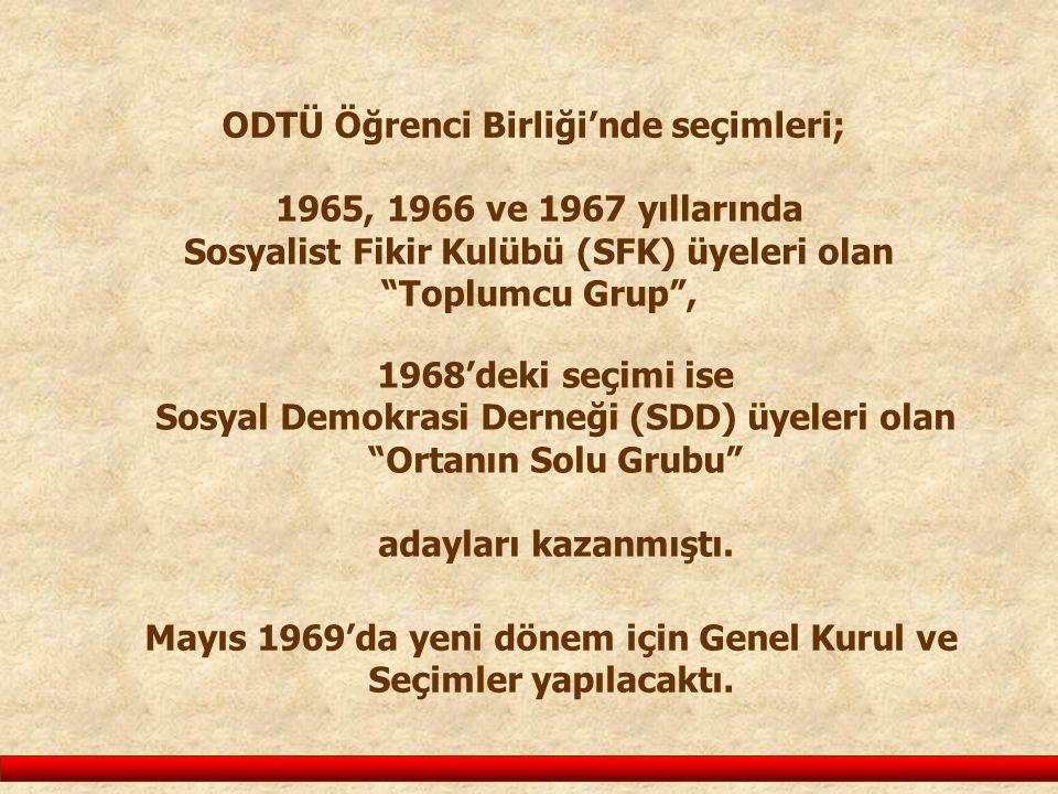 """ODTÜ Öğrenci Birliği'nde seçimleri; 1965, 1966 ve 1967 yıllarında Sosyalist Fikir Kulübü (SFK) üyeleri olan """"Toplumcu Grup"""", 1968'deki seçimi ise Sosy"""