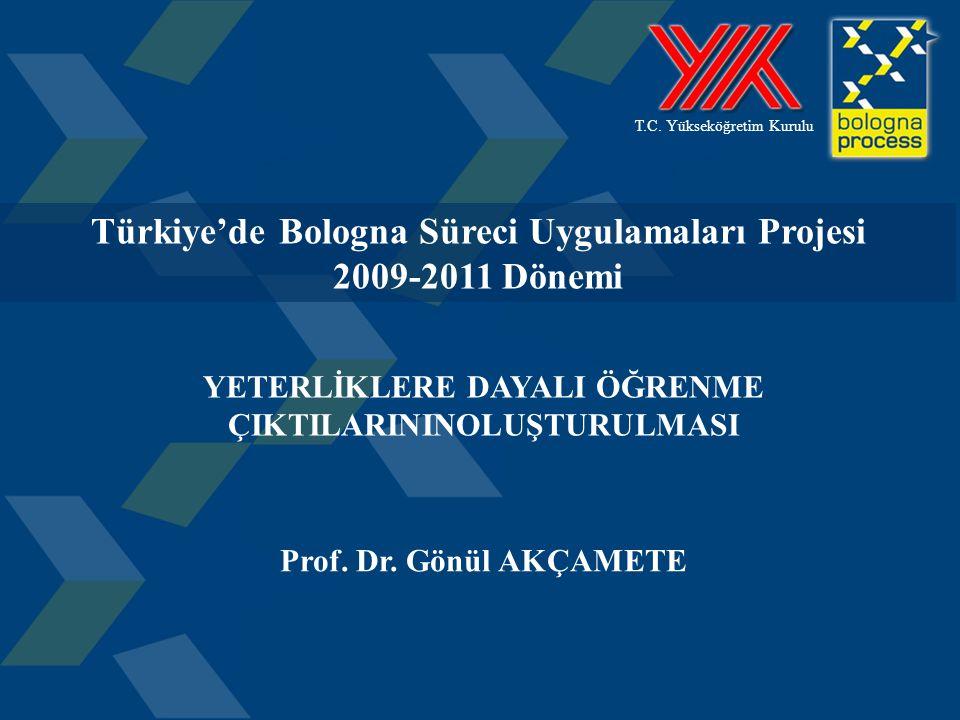 1 T.C. Yükseköğretim Kurulu Türkiye'de Bologna Süreci Uygulamaları Projesi 2009-2011 Dönemi YETERLİKLERE DAYALI ÖĞRENME ÇIKTILARININOLUŞTURULMASI Prof