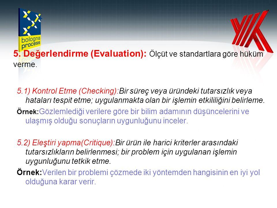5. Değerlendirme (Evaluation): Ölçüt ve standartlara göre hüküm verme. 5.1) Kontrol Etme (Checking):Bir süreç veya üründeki tutarsızlık veya hataları