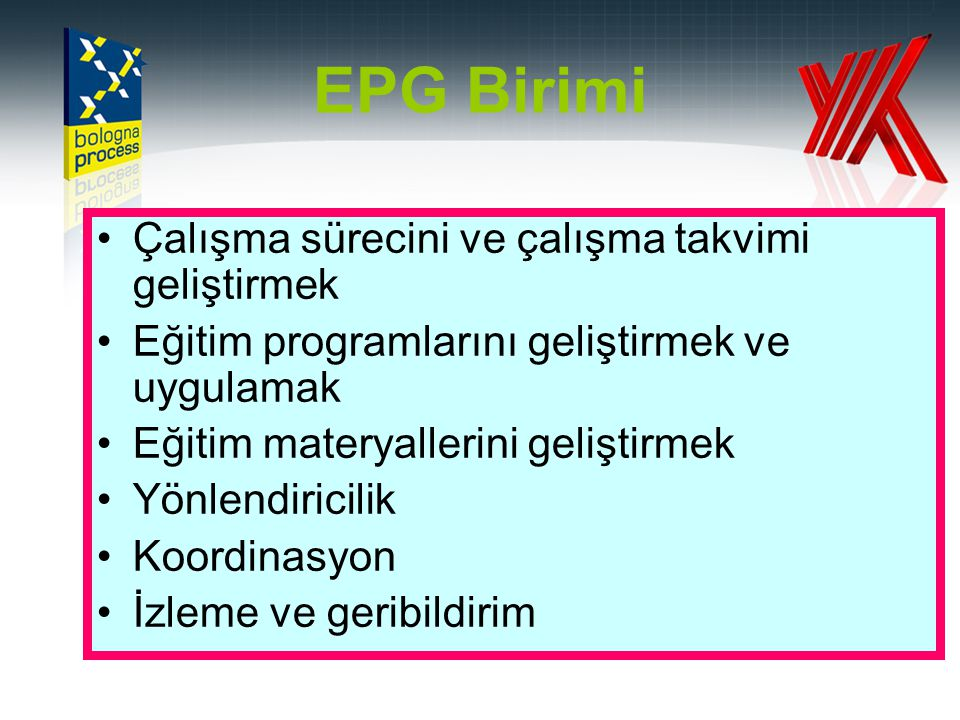 EPG Birimi •Çalışma sürecini ve çalışma takvimi geliştirmek •Eğitim programlarını geliştirmek ve uygulamak •Eğitim materyallerini geliştirmek •Yönlend