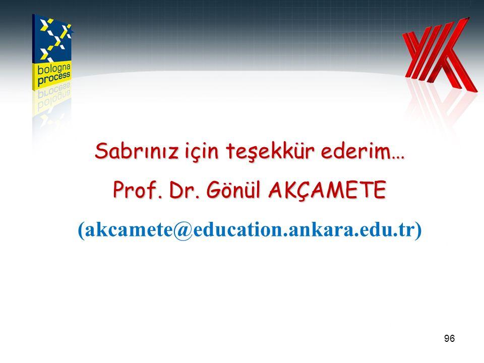 96 Sabrınız için teşekkür ederim… Prof. Dr. Gönül AKÇAMETE (akcamete@education.ankara.edu.tr)