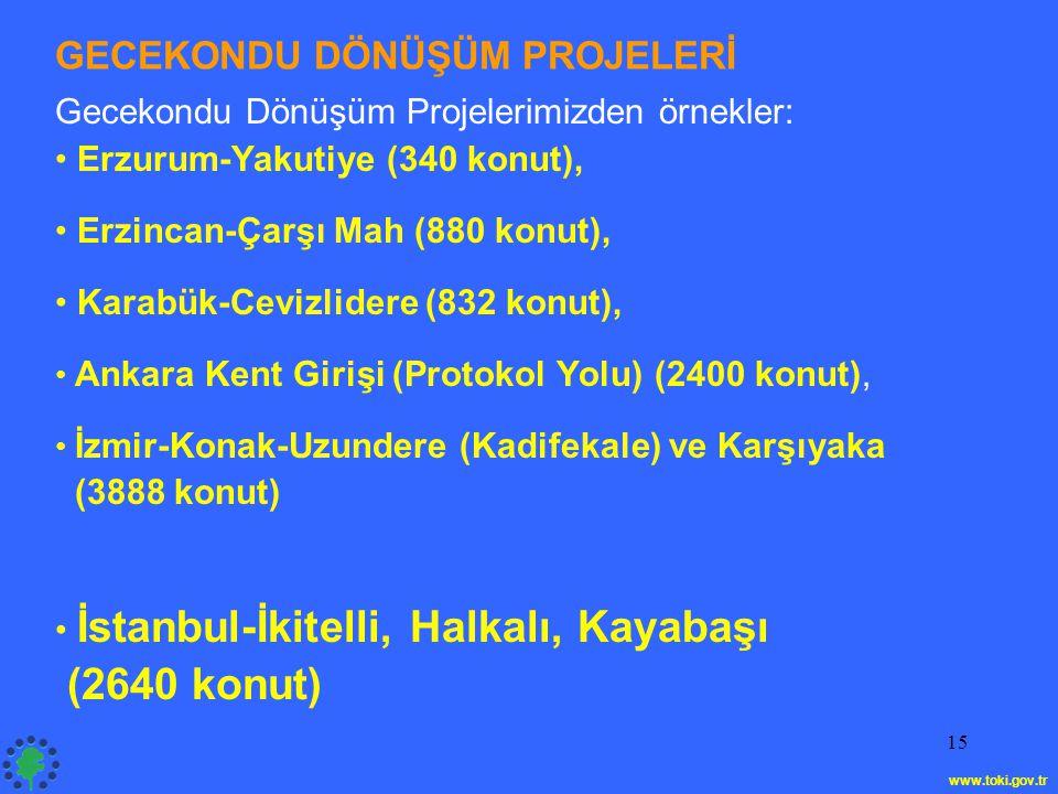 15 GECEKONDU DÖNÜŞÜM PROJELERİ Gecekondu Dönüşüm Projelerimizden örnekler: • Erzurum-Yakutiye (340 konut), • Erzincan-Çarşı Mah (880 konut), • Karabük