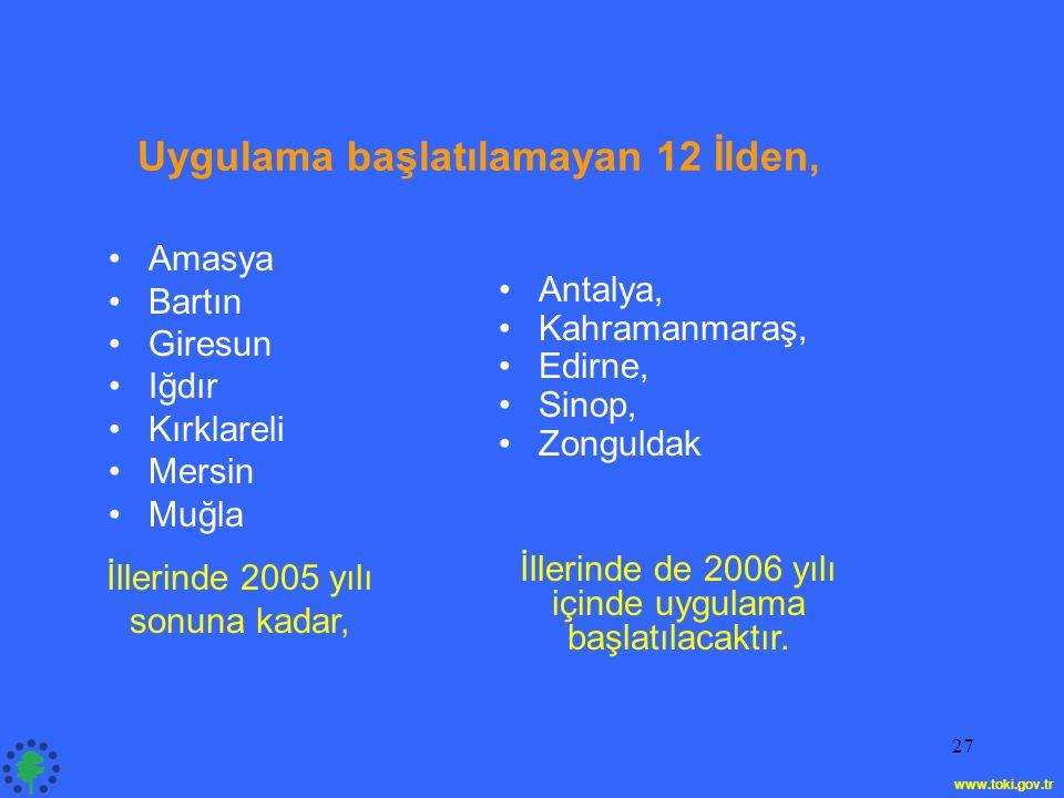 27 •Amasya •Bartın •Giresun •Iğdır •Kırklareli •Mersin •Muğla •Antalya, •Kahramanmaraş, •Edirne, •Sinop, •Zonguldak Uygulama başlatılamayan 12 İlden, İllerinde 2005 yılı sonuna kadar, İllerinde de 2006 yılı içinde uygulama başlatılacaktır.