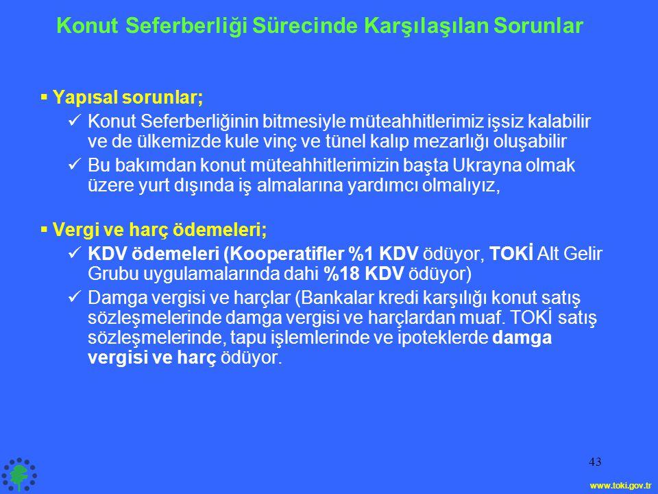 43 Konut Seferberliği Sürecinde Karşılaşılan Sorunlar  Yapısal sorunlar;  Konut Seferberliğinin bitmesiyle müteahhitlerimiz işsiz kalabilir ve de ülkemizde kule vinç ve tünel kalıp mezarlığı oluşabilir  Bu bakımdan konut müteahhitlerimizin başta Ukrayna olmak üzere yurt dışında iş almalarına yardımcı olmalıyız,  Vergi ve harç ödemeleri;  KDV ödemeleri (Kooperatifler %1 KDV ödüyor, TOKİ Alt Gelir Grubu uygulamalarında dahi %18 KDV ödüyor)  Damga vergisi ve harçlar (Bankalar kredi karşılığı konut satış sözleşmelerinde damga vergisi ve harçlardan muaf.