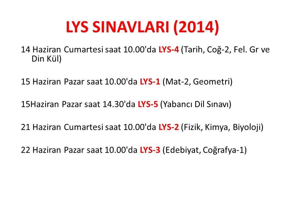 LYS SINAVLARI (2014) 14 Haziran Cumartesi saat 10.00'da LYS-4 (Tarih, Coğ-2, Fel. Gr ve Din Kül) 15 Haziran Pazar saat 10.00'da LYS-1 (Mat-2, Geometri