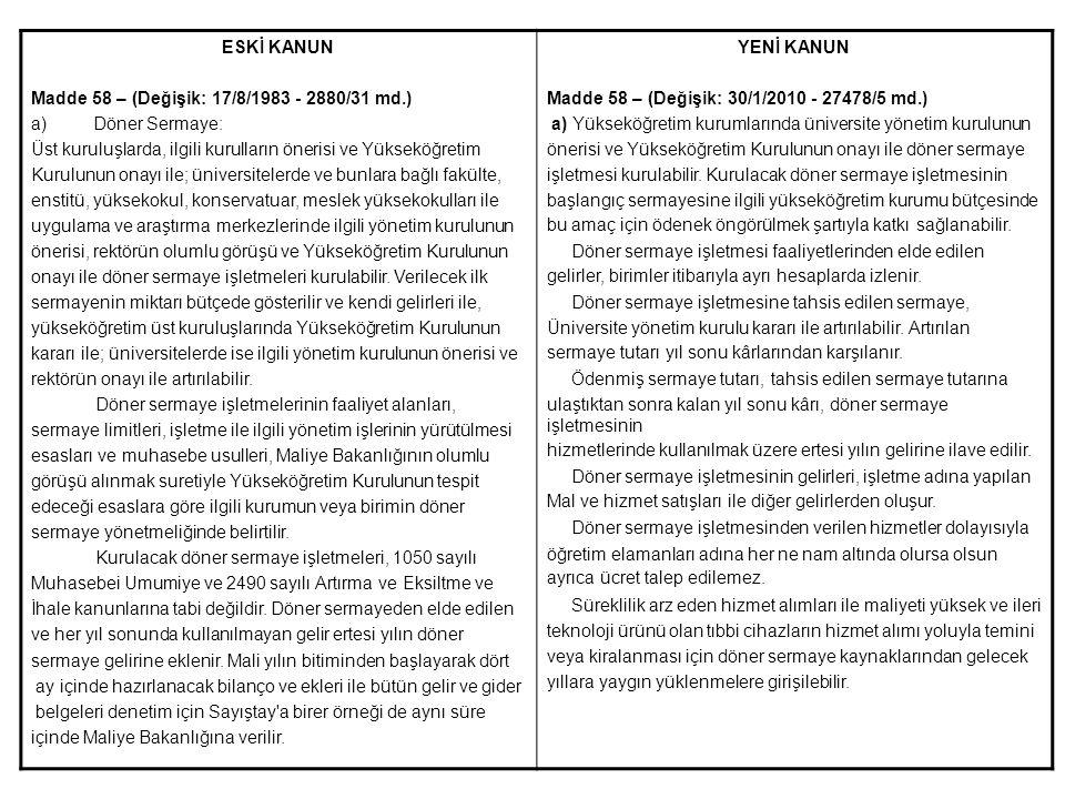 ESKİ KANUN Madde 58 – (Değişik: 17/8/1983 - 2880/31 md.) a)Döner Sermaye: Üst kuruluşlarda, ilgili kurulların önerisi ve Yükseköğretim Kurulunun onayı