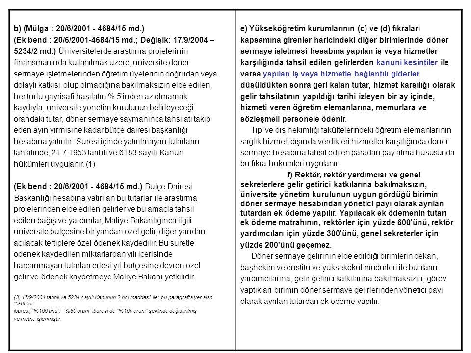 b) (Mülga : 20/6/2001 - 4684/15 md.) (Ek bend : 20/6/2001-4684/15 md.; Değişik: 17/9/2004 – 5234/2 md.) Üniversitelerde araştırma projelerinin finansm