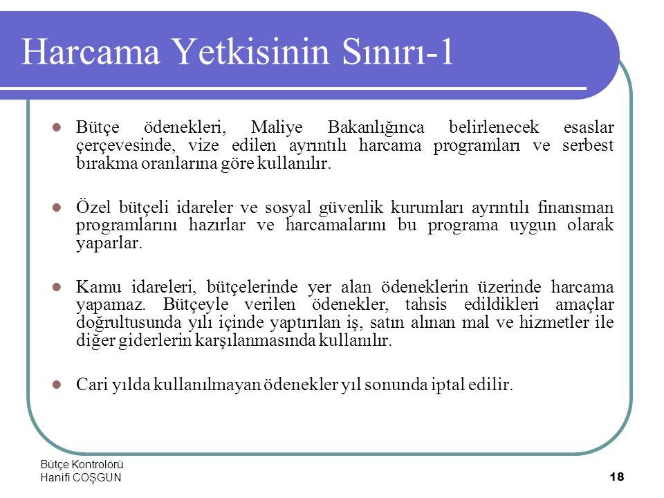 Bütçe Kontrolörü Hanifi COŞGUN18 Harcama Yetkisinin Sınırı-1  Bütçe ödenekleri, Maliye Bakanlığınca belirlenecek esaslar çerçevesinde, vize edilen ay