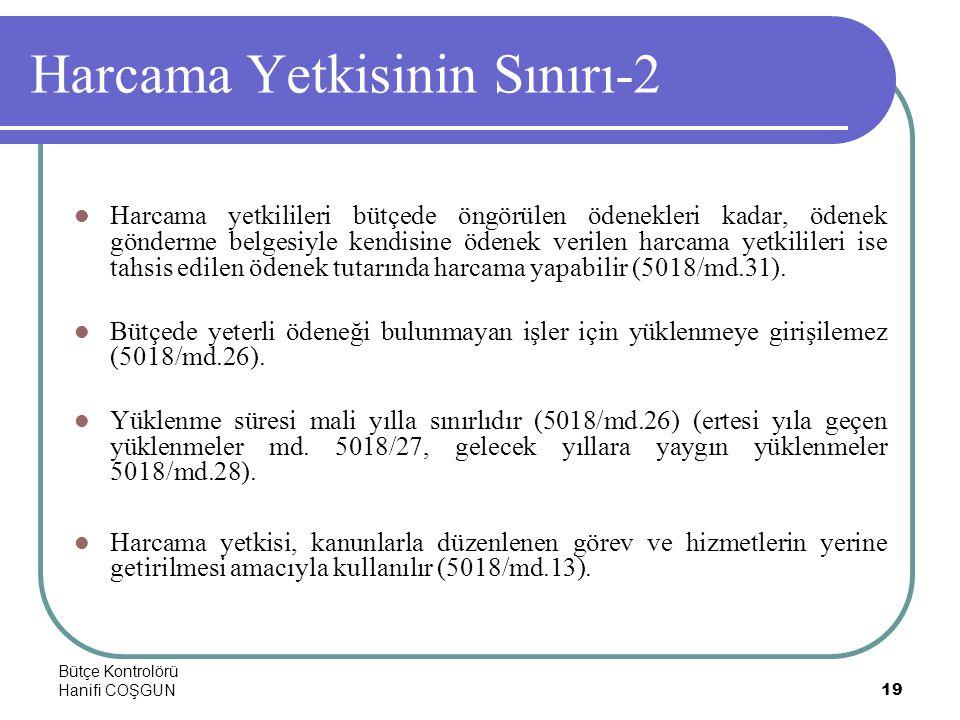 Bütçe Kontrolörü Hanifi COŞGUN19 Harcama Yetkisinin Sınırı-2  Harcama yetkilileri bütçede öngörülen ödenekleri kadar, ödenek gönderme belgesiyle kend