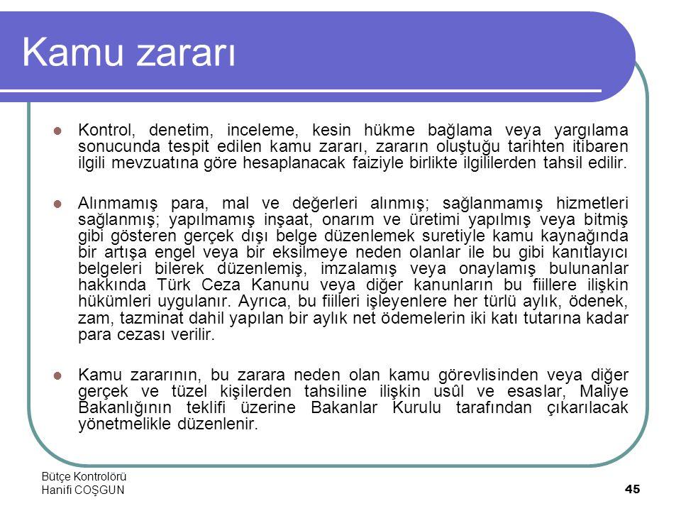 Bütçe Kontrolörü Hanifi COŞGUN45 Kamu zararı  Kontrol, denetim, inceleme, kesin hükme bağlama veya yargılama sonucunda tespit edilen kamu zararı, zar