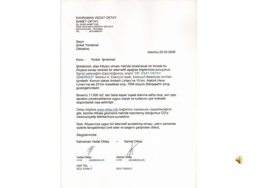 Dr. Esat Oktay İş Merkezi Zemin Kat Planı Ocak Yapı Sanayi ve Ticaret A.Ş. 20.03.2009