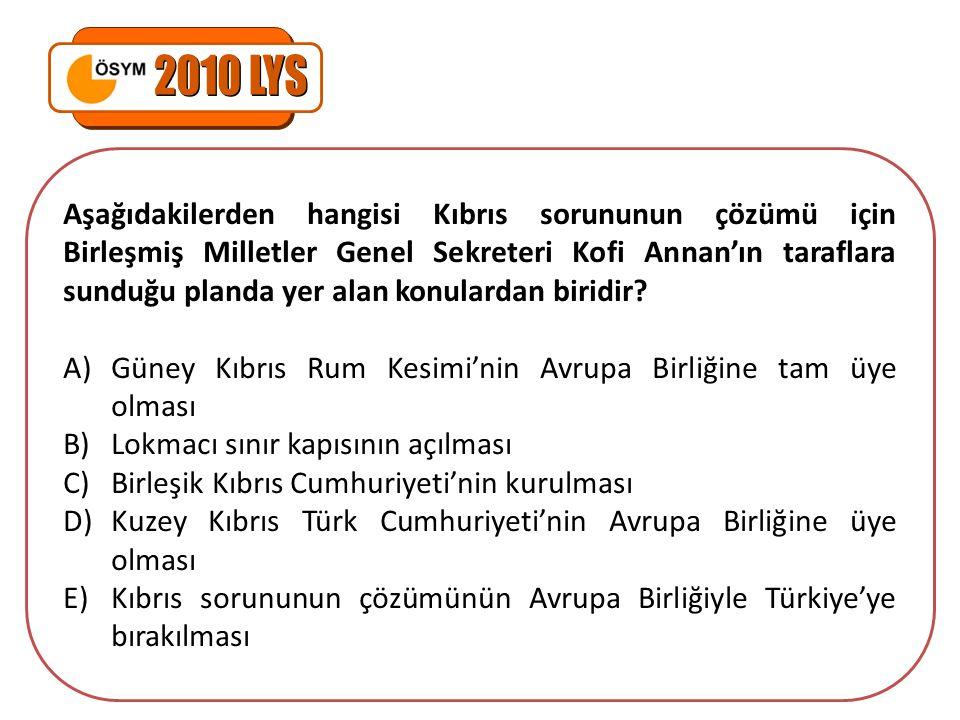 Aşağıdakilerden hangisi Kıbrıs sorununun çözümü için Birleşmiş Milletler Genel Sekreteri Kofi Annan'ın taraflara sunduğu planda yer alan konulardan bi