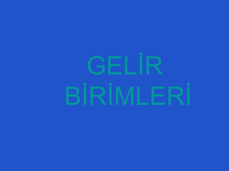 GELİR BİRİMLERİ