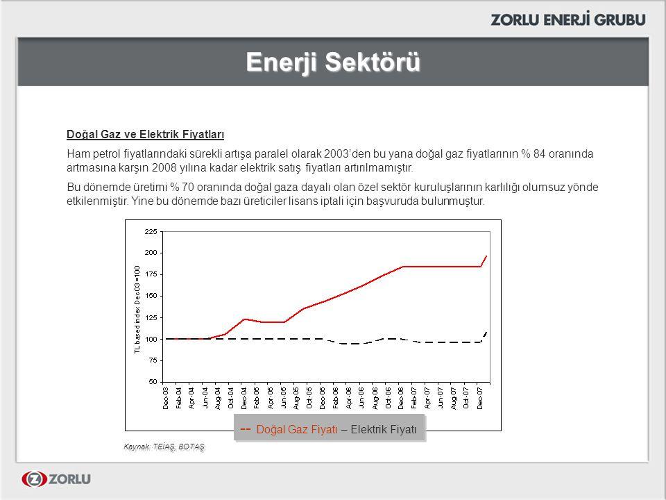 Enerji Sektörü Doğal Gaz ve Elektrik Fiyatları Ham petrol fiyatlarındaki sürekli artışa paralel olarak 2003'den bu yana doğal gaz fiyatlarının % 84 or