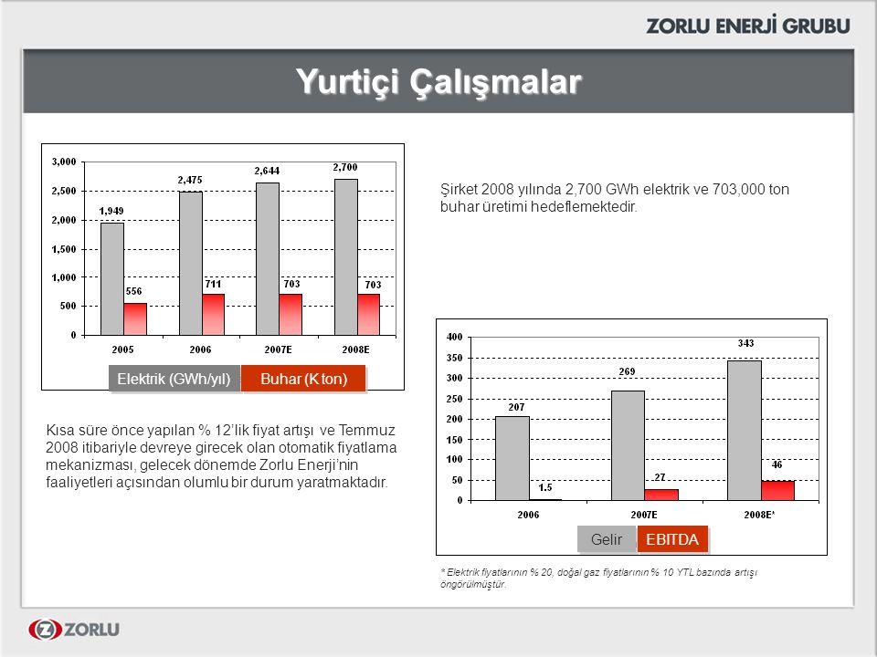 Yurtiçi Çalışmalar Şirket 2008 yılında 2,700 GWh elektrik ve 703,000 ton buhar üretimi hedeflemektedir. * Elektrik fiyatlarının % 20, doğal gaz fiyatl