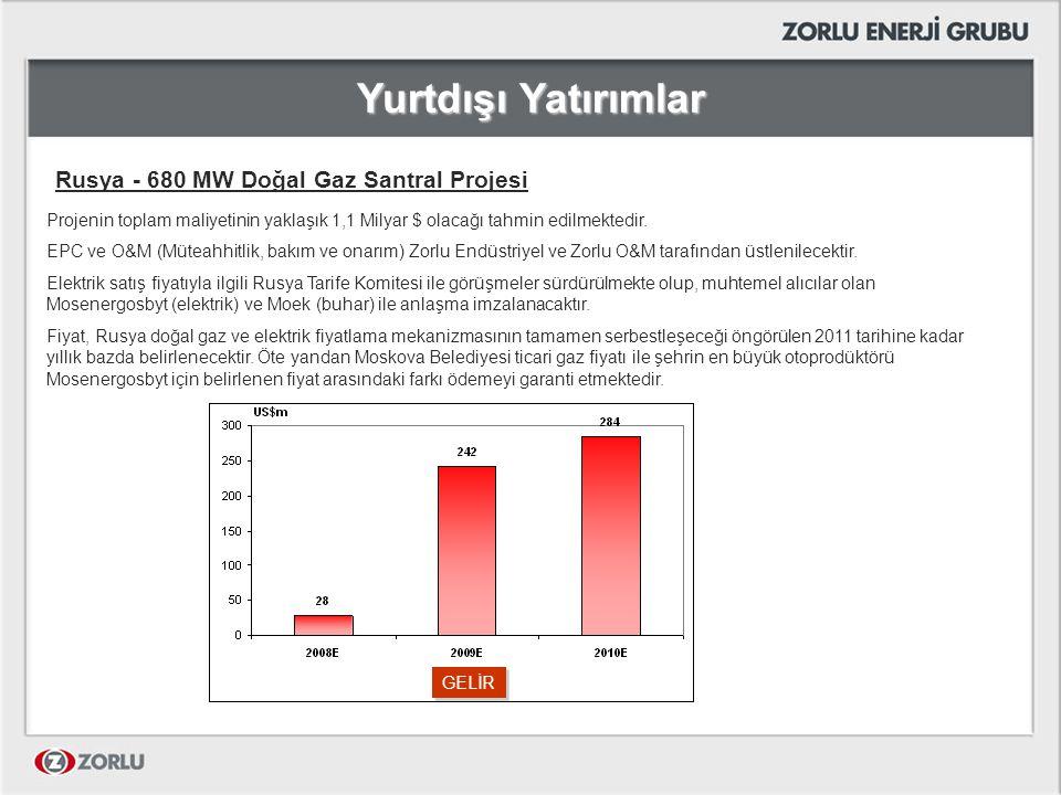 Yurtdışı Yatırımlar Rusya - 680 MW Doğal Gaz Santral Projesi Projenin toplam maliyetinin yaklaşık 1,1 Milyar $ olacağı tahmin edilmektedir. EPC ve O&M