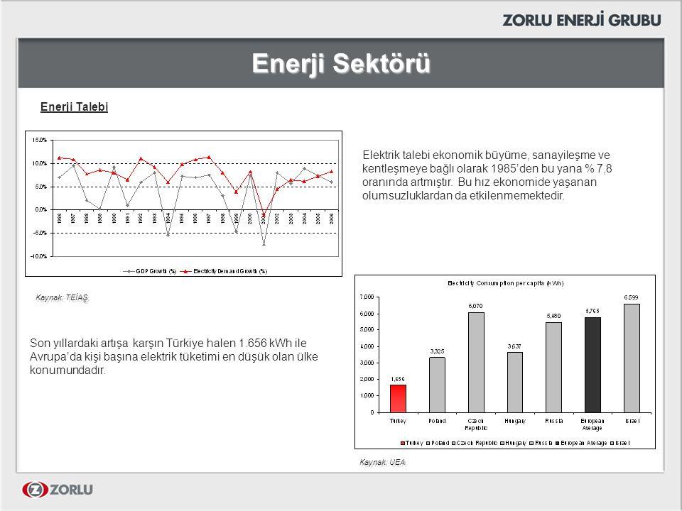 Enerji Sektörü Enerji Talebi ve Kapasite Projeksiyonları (TEİAŞ) Yüksek talep senaryosu (%8,1yıllık büyüme) Düşük talep senaryosu (%6,3yıllık büyüme) Türkiye yüksek talep senaryosuna göre 2009, düşük talep senaryosuna göre ise 2011 yılında elektrik arzı açığı ile karşı karşıya kalacaktır.