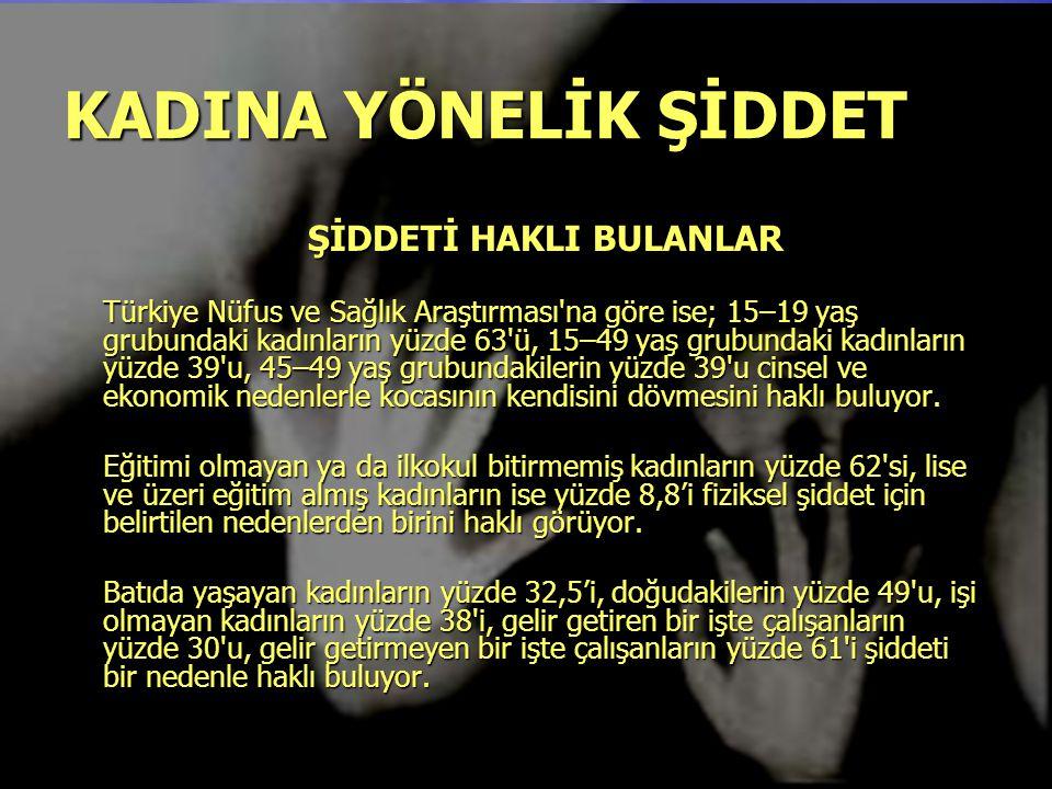 KADINA YÖNELİK ŞİDDET Türkiye'de yapılan çeşitli kesitsel çalışmalar, kadınların en az 1/3'ünün en az bir kere eşleri tarafından şiddete maruz kaldığını göstermektedir.