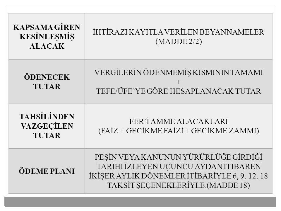 KAPSAMA GİREN KESİNLEŞMİŞ ALACAK ÖDENECEK TUTAR TAHSİLİNDEN VAZGEÇİLEN TUTAR ÖDEME PLANI İHTİRAZI KAYITLA VERİLEN BEYANNAMELER (MADDE 2/2) VERGİLERİN ÖDENMEMİŞ KISMININ TAMAMI + TEFE/ÜFE'YE GÖRE HESAPLANACAK TUTAR FER'İ AMME ALACAKLARI (FAİZ + GECİKME FAİZİ + GECİKME ZAMMI) PEŞİN VEYA KANUNUN YÜRÜRLÜĞE GİRDİĞİ TARİHİ İZLEYEN ÜÇÜNCÜ AYDAN İTİBAREN İKİŞER AYLIK DÖNEMLER İTİBARİYLE 6, 9, 12, 18 TAKSİT ŞEÇENEKLERİYLE.(MADDE 18)