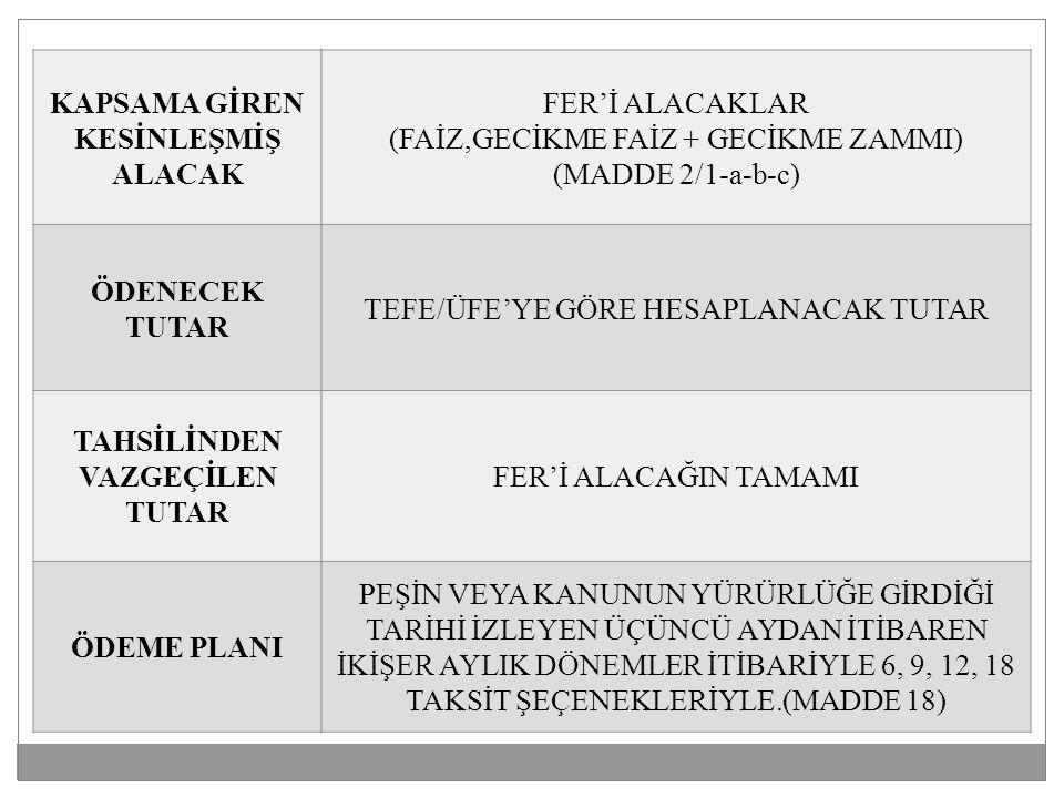 KAPSAMA GİREN KESİNLEŞMİŞ ALACAK ÖDENECEK TUTAR TAHSİLİNDEN VAZGEÇİLEN TUTAR ÖDEME PLANI FER'İ ALACAKLAR (FAİZ,GECİKME FAİZ + GECİKME ZAMMI) (MADDE 2/1-a-b-c) TEFE/ÜFE'YE GÖRE HESAPLANACAK TUTAR FER'İ ALACAĞIN TAMAMI PEŞİN VEYA KANUNUN YÜRÜRLÜĞE GİRDİĞİ TARİHİ İZLEYEN ÜÇÜNCÜ AYDAN İTİBAREN İKİŞER AYLIK DÖNEMLER İTİBARİYLE 6, 9, 12, 18 TAKSİT ŞEÇENEKLERİYLE.(MADDE 18)