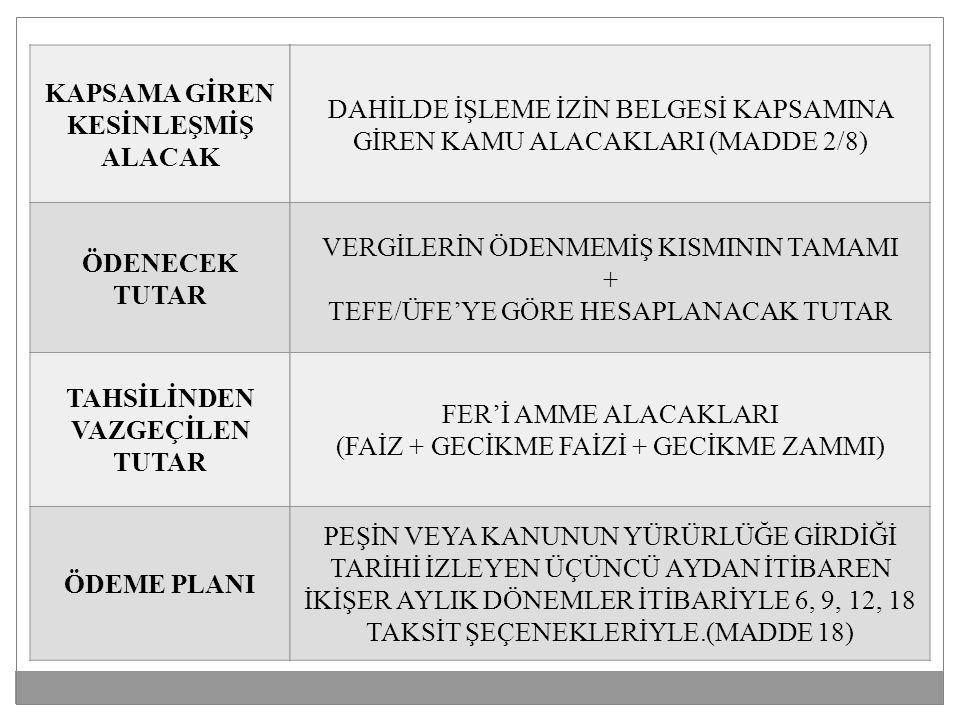 KAPSAMA GİREN KESİNLEŞMİŞ ALACAK ÖDENECEK TUTAR TAHSİLİNDEN VAZGEÇİLEN TUTAR ÖDEME PLANI DAHİLDE İŞLEME İZİN BELGESİ KAPSAMINA GİREN KAMU ALACAKLARI (MADDE 2/8) VERGİLERİN ÖDENMEMİŞ KISMININ TAMAMI + TEFE/ÜFE'YE GÖRE HESAPLANACAK TUTAR FER'İ AMME ALACAKLARI (FAİZ + GECİKME FAİZİ + GECİKME ZAMMI) PEŞİN VEYA KANUNUN YÜRÜRLÜĞE GİRDİĞİ TARİHİ İZLEYEN ÜÇÜNCÜ AYDAN İTİBAREN İKİŞER AYLIK DÖNEMLER İTİBARİYLE 6, 9, 12, 18 TAKSİT ŞEÇENEKLERİYLE.(MADDE 18)