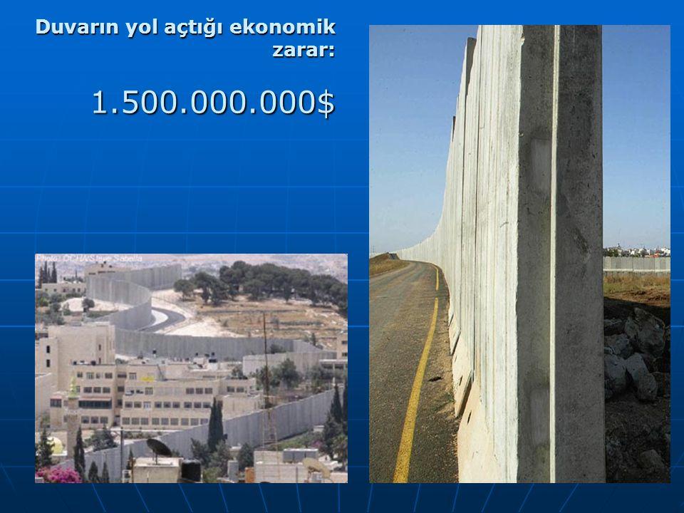 Duvarın yol açtığı ekonomik zarar: 1.500.000.000$