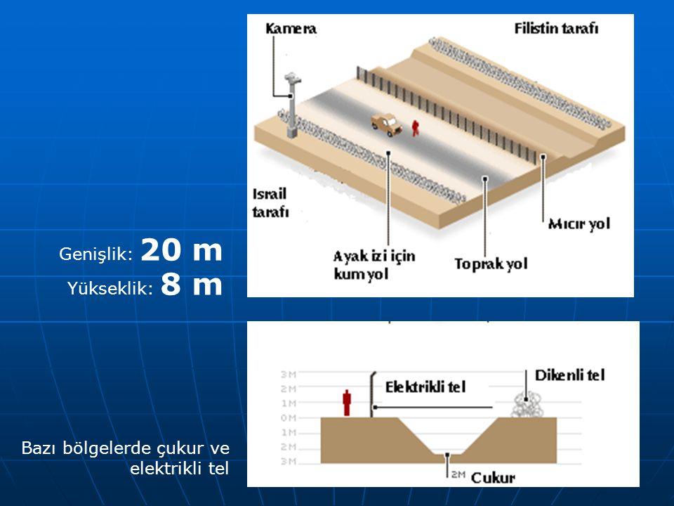 Genişlik: 20 m Yükseklik: 8 m Bazı bölgelerde çukur ve elektrikli tel