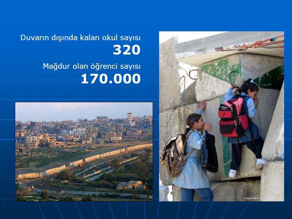 Duvarın dışında kalan okul sayısı 320 Mağdur olan öğrenci sayısı 170.000