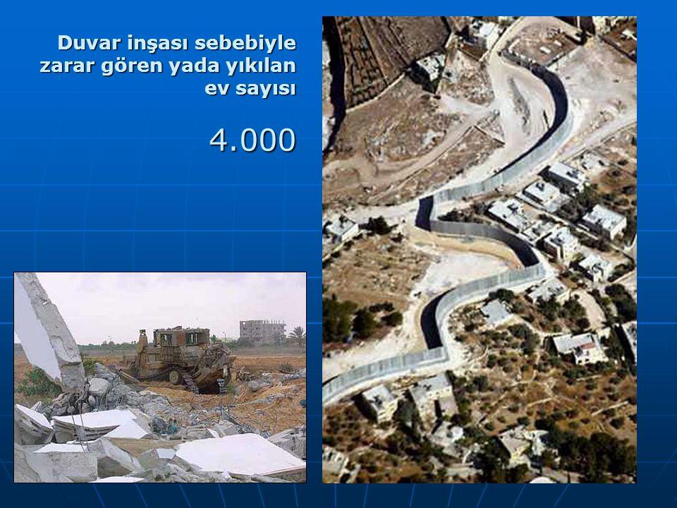 Duvar inşası sebebiyle zarar gören yada yıkılan ev sayısı 4.000