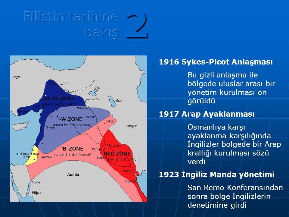 1916 Sykes-Picot Anlaşması Bu gizli anlaşma ile bölgede uluslar arası bir yönetim kurulması ön görüldü 1917 Arap Ayaklanması Osmanlıya karşı ayaklanma