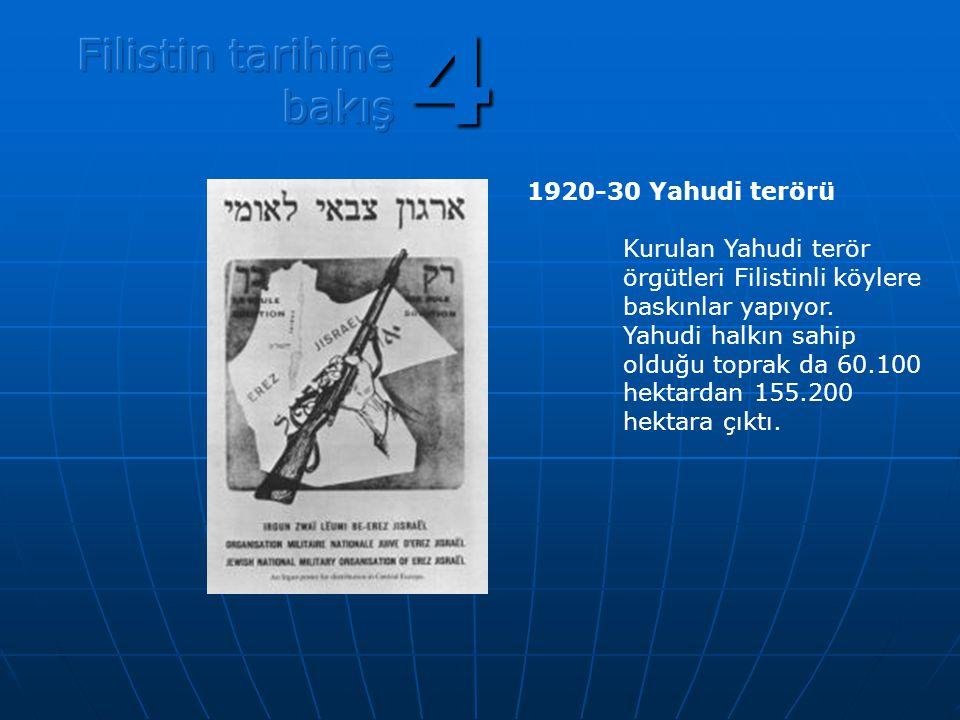 1920-30 Yahudi terörü Kurulan Yahudi terör örgütleri Filistinli köylere baskınlar yapıyor. Yahudi halkın sahip olduğu toprak da 60.100 hektardan 155.2