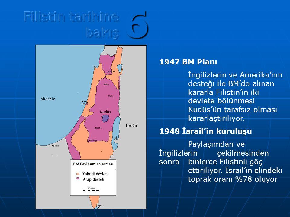6 1947 BM Planı İngilizlerin ve Amerika'nın desteği ile BM'de alınan kararla Filistin'in iki devlete bölünmesi Kudüs'ün tarafsız olması kararlaştırılı