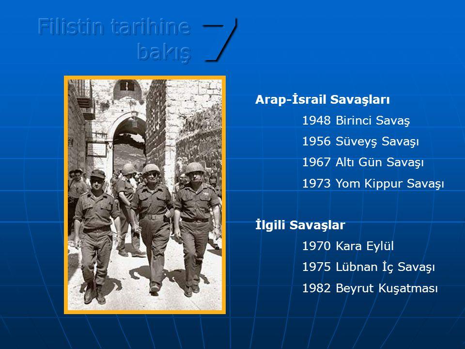 7 Arap-İsrail Savaşları 1948 Birinci Savaş 1956 Süveyş Savaşı 1967 Altı Gün Savaşı 1973 Yom Kippur Savaşı İlgili Savaşlar 1970 Kara Eylül 1975 Lübnan