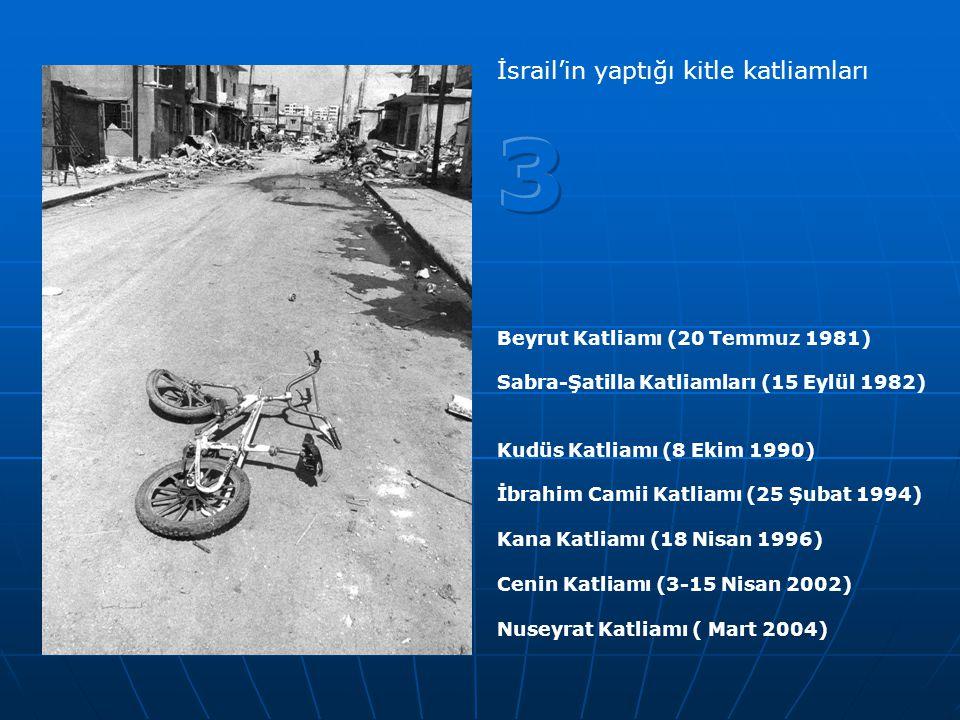 Beyrut Katliamı (20 Temmuz 1981) Sabra-Şatilla Katliamları (15 Eylül 1982) Kudüs Katliamı (8 Ekim 1990) İbrahim Camii Katliamı (25 Şubat 1994) Kana Ka