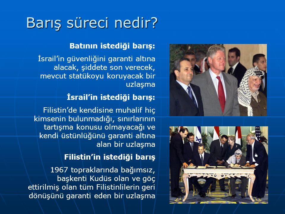 Barış süreci nedir? Batının istediği barış: İsrail'in güvenliğini garanti altına alacak, şiddete son verecek, mevcut statükoyu koruyacak bir uzlaşma İ