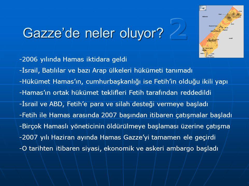 -2006 yılında Hamas iktidara geldi -İsrail, Batılılar ve bazı Arap ülkeleri hükümeti tanımadı -Hükümet Hamas'ın, cumhurbaşkanlığı ise Fetih'in olduğu