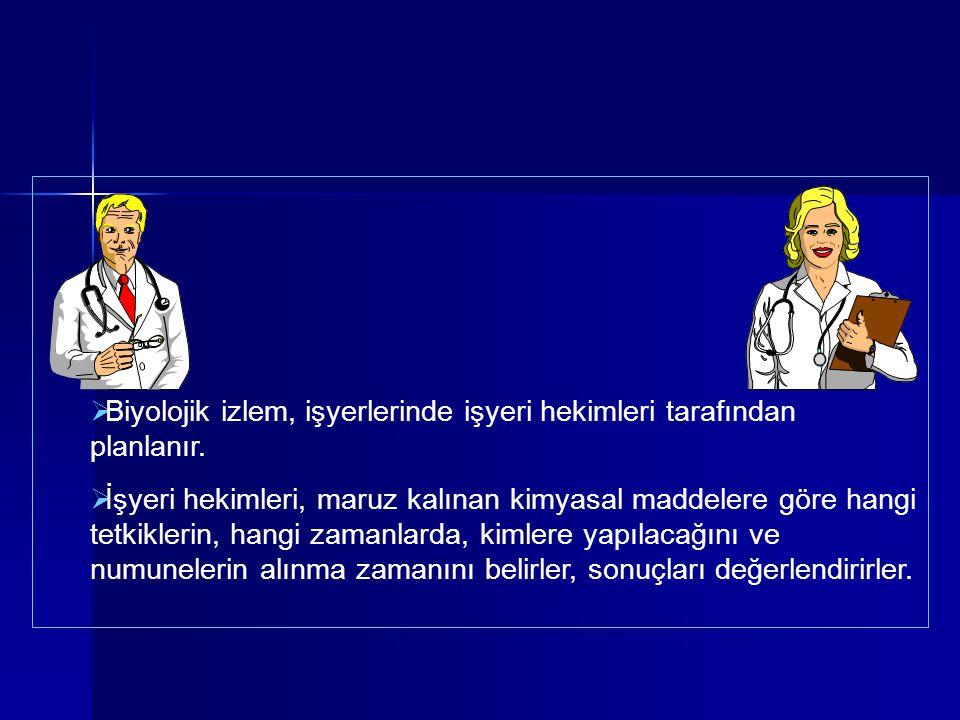  Biyolojik izlem, işyerlerinde işyeri hekimleri tarafından planlanır.  İşyeri hekimleri, maruz kalınan kimyasal maddelere göre hangi tetkiklerin, ha