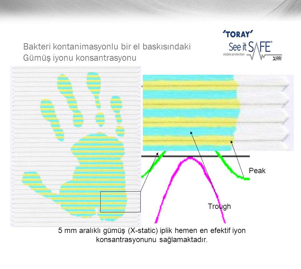 Bakteri kontanimasyonlu bir el baskısındaki Gümüş iyonu konsantrasyonu 5 mm aralıklı gümüş (X-static) iplik hemen en efektif iyon konsantrasyonunu sağ