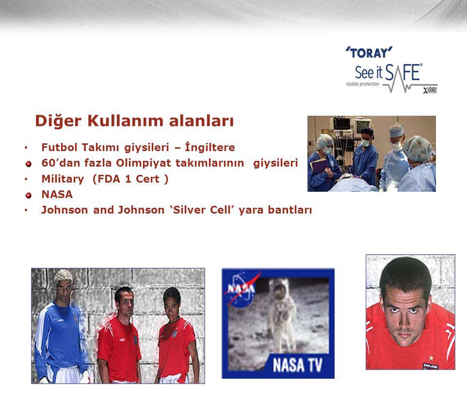 Diğer Kullanım alanları • Futbol Takımı giysileri – İngiltere 60'dan fazla Olimpiyat takımlarının giysileri • Military (FDA 1 Cert ) NASA • Johnson an