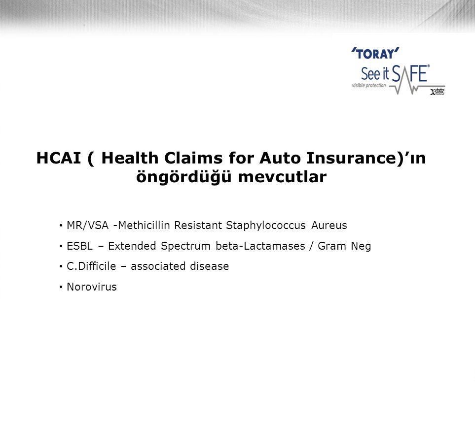 HCAI ( Health Claims for Auto Insurance)'ın öngördüğü mevcutlar • MR/VSA -Methicillin Resistant Staphylococcus Aureus • ESBL – Extended Spectrum beta-