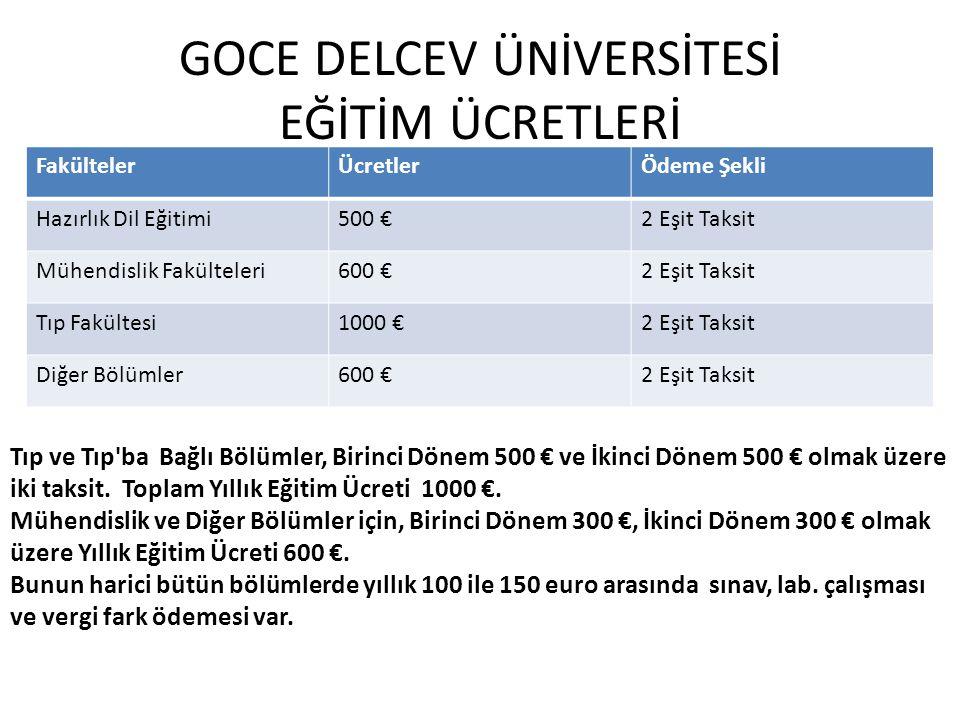 GOCE DELCEV ÜNİVERSİTESİ EĞİTİM ÜCRETLERİ FakültelerÜcretlerÖdeme Şekli Hazırlık Dil Eğitimi500 €2 Eşit Taksit Mühendislik Fakülteleri600 €2 Eşit Taks