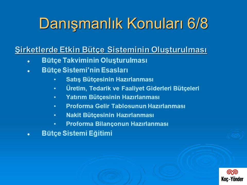 Danışmanlık Konuları 6/8 Şirketlerde Etkin Bütçe Sisteminin Oluşturulması   Bütçe Takviminin Oluşturulması   Bütçe Sistemi'nin Esasları • •Satış B