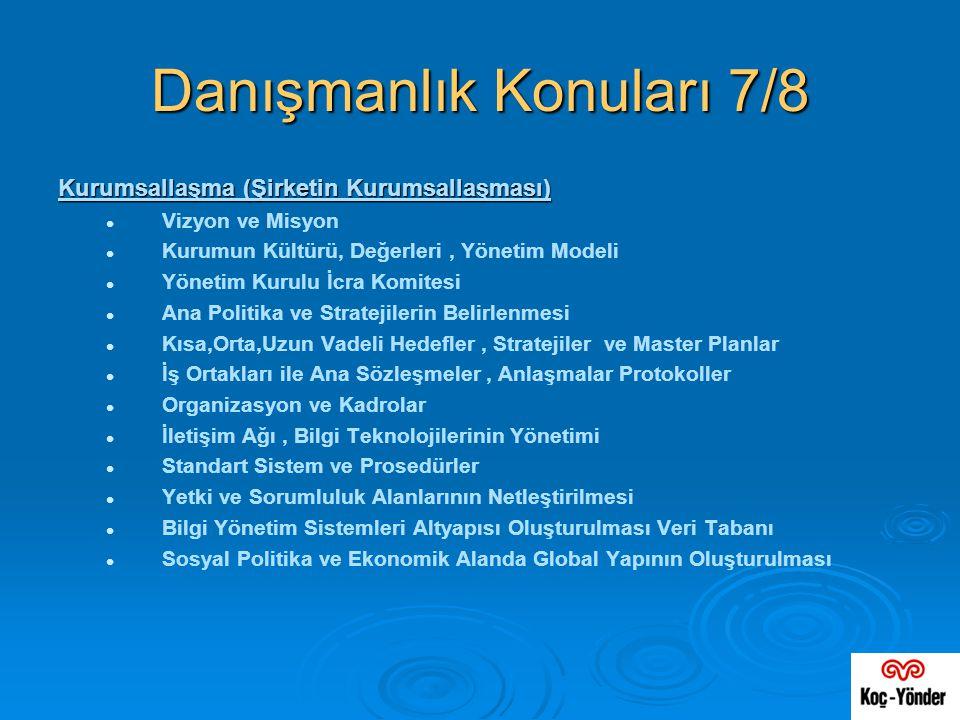 Danışmanlık Konuları 7/8 Kurumsallaşma (Şirketin Kurumsallaşması)   Vizyon ve Misyon   Kurumun Kültürü, Değerleri, Yönetim Modeli   Yönetim Kuru